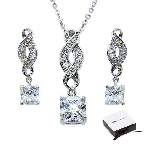 "Iris ""Noble"" 18k Gold CZ Infinity Necklace and Earrings Jewelry Set"