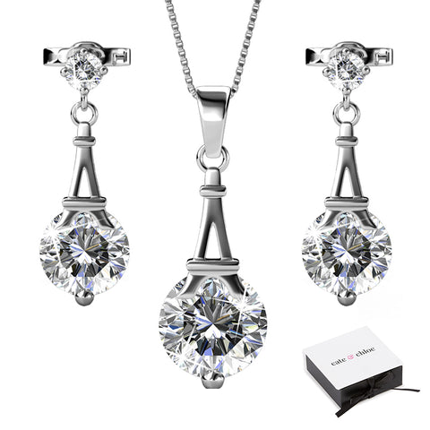 "Isla ""Ethereal"" 18k White Gold Swarovski Necklace/Earrings Jewelry Set"