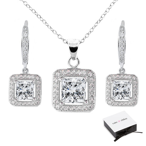 Ivy 18k White Gold Plated Pendant Necklace/Earrings Jewelry Set