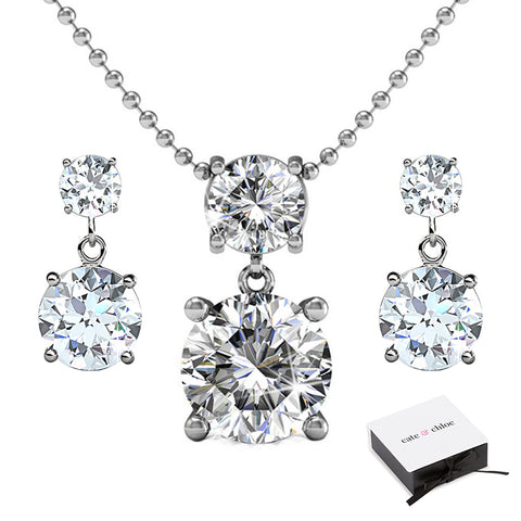 "Jasmine ""Immortal"" 18k White Gold Plated Swarovski Necklace/Earrings Jewelry Set"