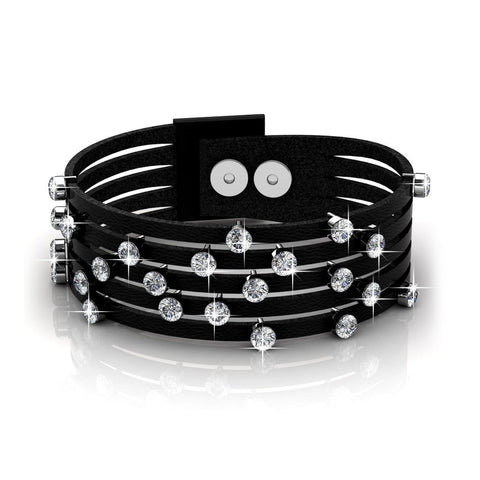 "Jewelry, Bracelets, Wrap Bracelets - Nadia ""Adorn"" 18k White Gold Swarovski Crystal Leather Bracelet"