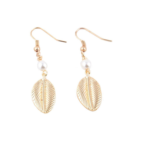 "Jewelry, Earrings, Drop Earrings - Leighton ""Earthly"" Leaf Pearl Earrings"