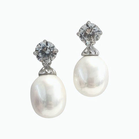 "Jewelry, Earrings, Drop Earrings, Sterling Silver, Pearl Earrings - Julia ""Poised"" CZ Sterling Silver Pearl Drop Earrings"