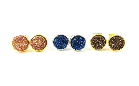"Jewelry, Earrings, Stud Earrings, Gold, Silver - Aria ""Valiant"" Druzy 18k Gold Stud Earrings"