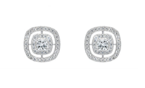 "Jewelry, Earrings, Stud Earrings - Noelle ""Chance"" 18k White Gold Princess Cut Halo Earrings"