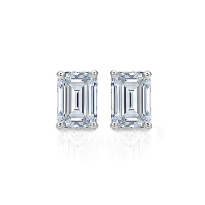 Jewelry, Earrings, Stud Earrings, Sterling Silver - Cleopatra 2ct Emerald Cut Sterling Silver Earrings
