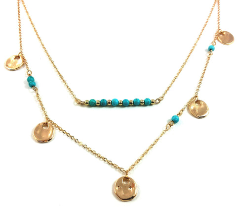 "Jewelry, Necklace, Layered - Selena ""Divine"" Layered Turquoise Necklace"