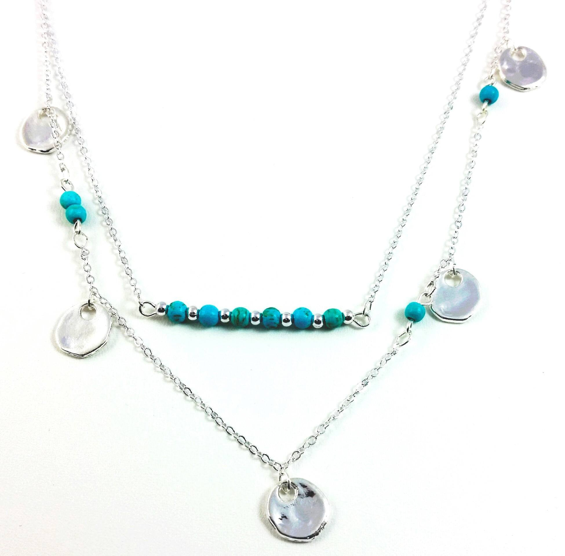 oliver jewellery circle silver necklace bonas turquoise lyca