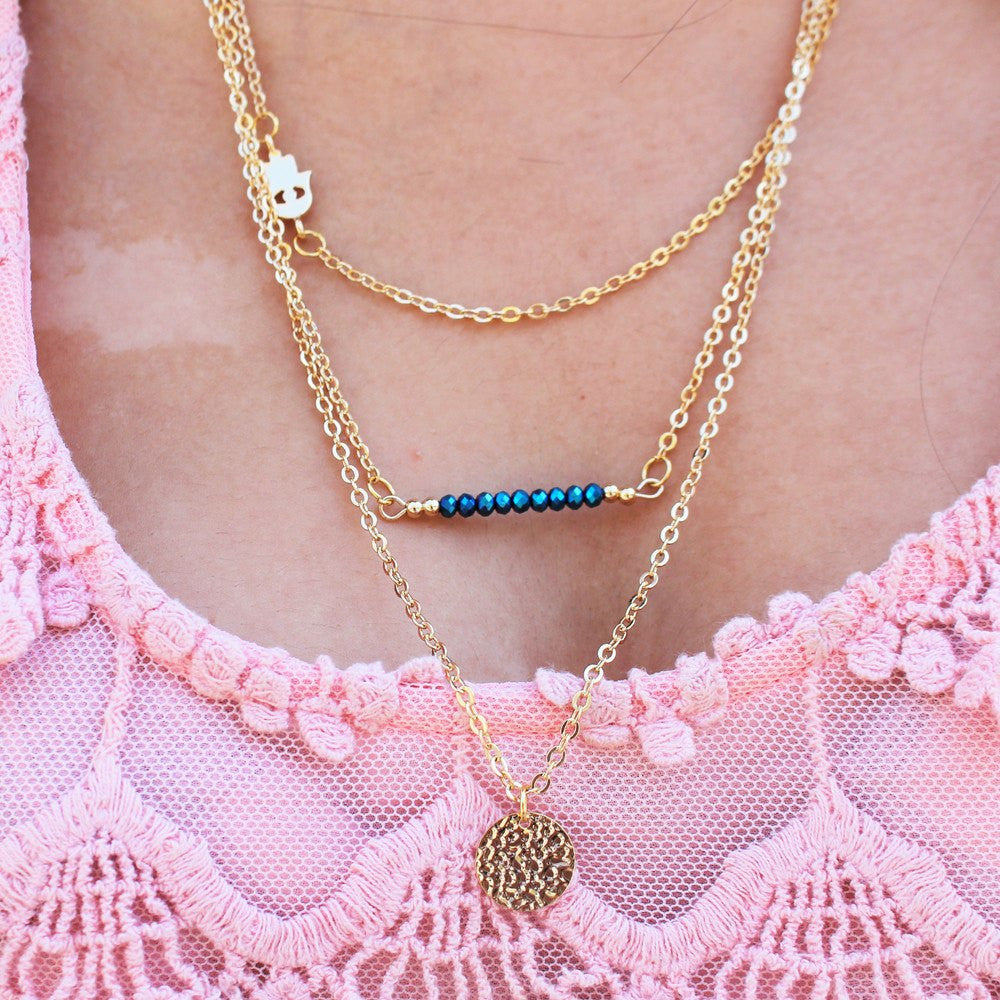 "Bria Diamontrigue Jewelry: Bria ""Dream"" 18k Gold Plated 3 Piece Layered Necklace"
