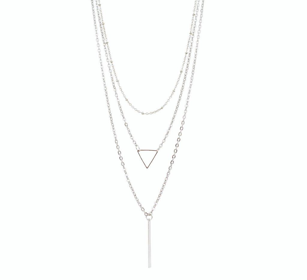 "Jewelry, Necklace, Pendant - Ella ""Exquisite"" 3 Piece Layered Necklace In Silver"
