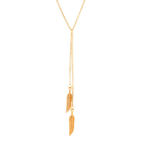 "Jewelry, Necklace, Pendant, Gold - Naomi ""Free"" 18k Gold Plated Feather Necklace - Gold"
