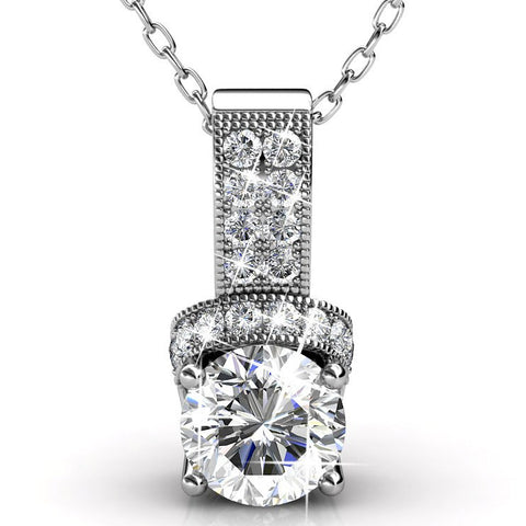 "Jewelry, Necklace, Pendant - Laya ""Ruler"" 18k White Gold Swarovski Pendant"