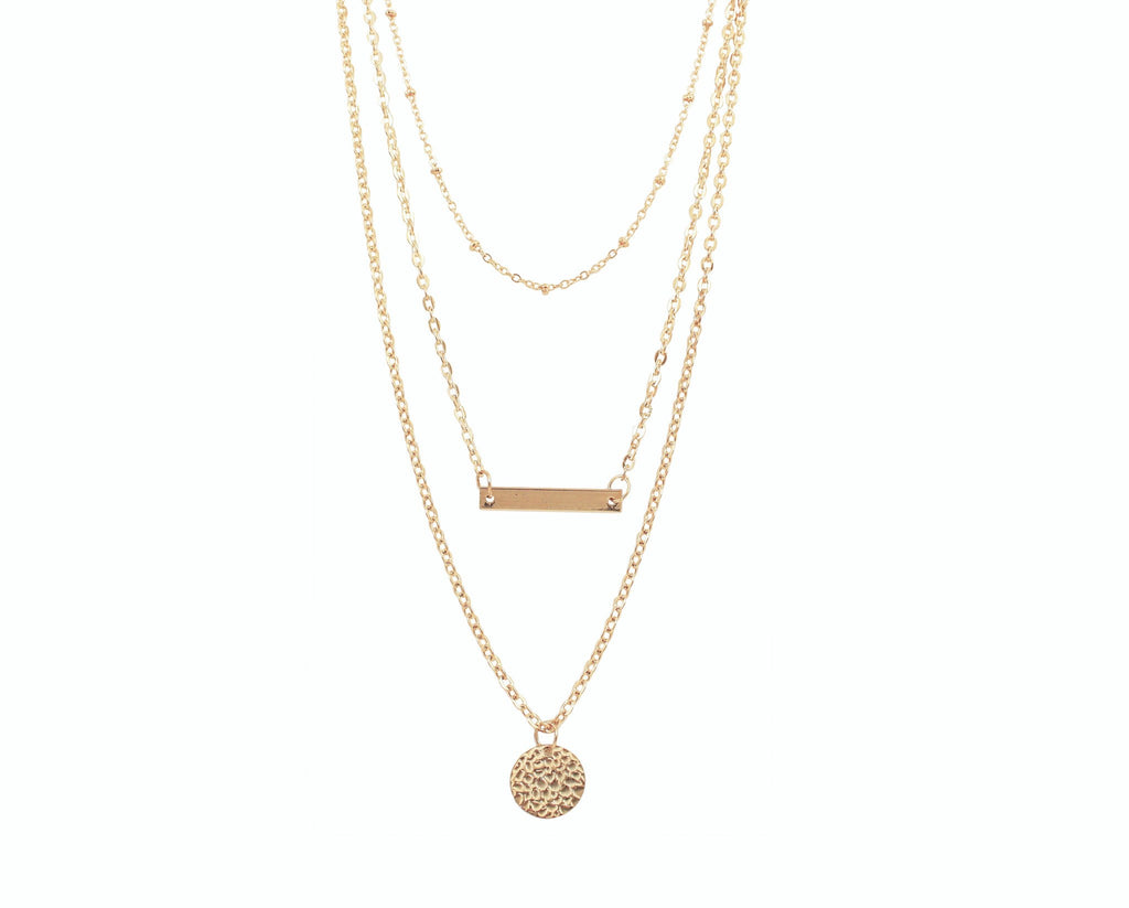 "Jewelry, Necklace, Pendant - Margot ""Definitive"" 3 Piece Layered Necklace In Gold"