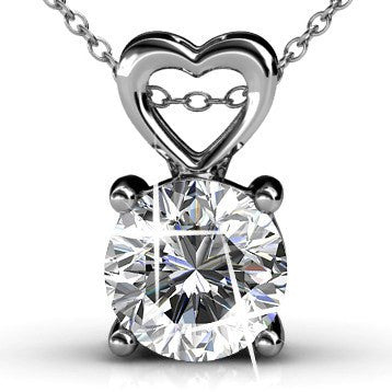 "Jewelry, Necklace, Pendant - Marian ""Passion"" 18k White Gold Plated Swarovski Pendant"