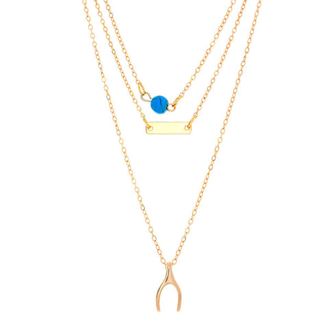 "Jewelry, Necklace, Pendant - Melanie ""Wish"" 18k Gold Plated 3 Piece Layered Necklace"