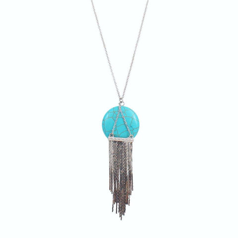 Jewelry, Necklace, Pendant - Mercedes 'Amity' Turquoise Tassel Necklace In Silver