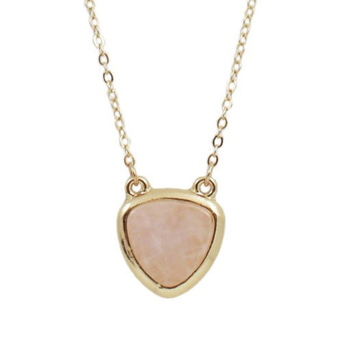 "Jewelry, Necklace, Pendant - Summer ""Peace"" Natural Stone Necklace In Pale Pink"