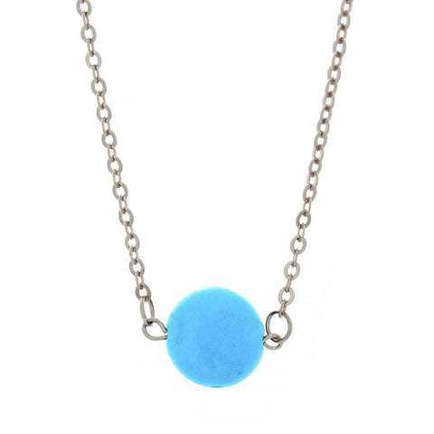 "Jewelry, Necklace, Pendant - Tatiana ""Bliss"" 18k White Gold Plated Turquoise Necklace"