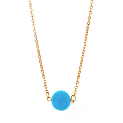 "Jewelry, Necklace, Pendant - Tatiana ""Bliss"" 18k Yellow Gold Plated Turquoise Necklace"