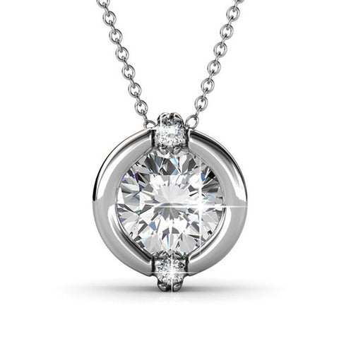 "Jewelry, Necklace, Swarovski, Silver - Zara ""Radiant"" Sterling Silver 18k White Gold Plated Swarovski Necklace"