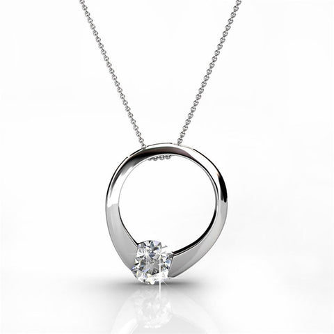 "Jewelry, Necklaces, Swarovski - Dahlia ""Blossom"" Sterling Silver 18k White Gold Plated Swarovski Circle Ring Necklace"