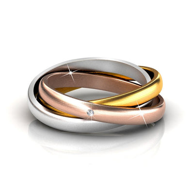 Jewelry, Ring, Swarovski, Silver, Gold, Rose Gold - Kenzie 18k Gold Plated Swarovski Interlocking Rings