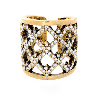 "Jewelry, Rings, Gold - Diana ""Royal"" Gold Diamond Pattern Cuff Ring"