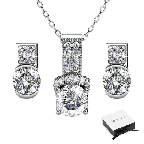 "Laya ""Ruler"" 18k White Gold Swarovski Pendant Necklace and Earrings Jewelry Set"