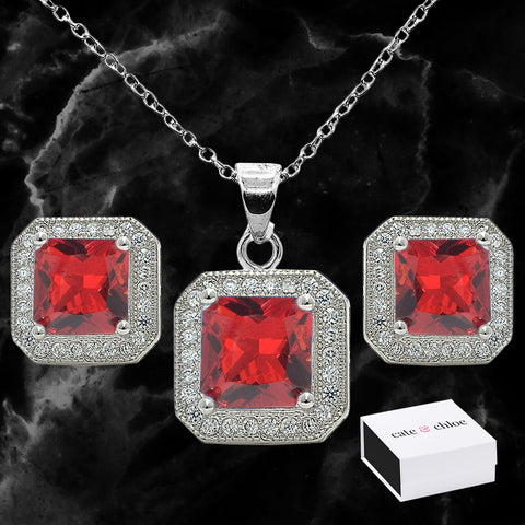 Londyn 18K White Gold Plated Princess Cut Colored CZ Halo Necklace and Earrings Jewelry Set