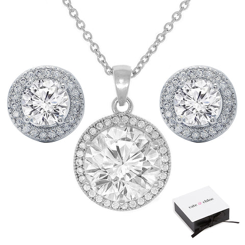 "Mariah 18k White Gold Round Cut CZ Halo Pendant Necklace with 18"" Chain/Earrings Jewelry Set"