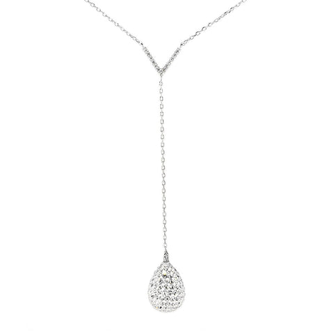 Necklace,Jewelry - Ava Crystal Teardrop Silver Necklace