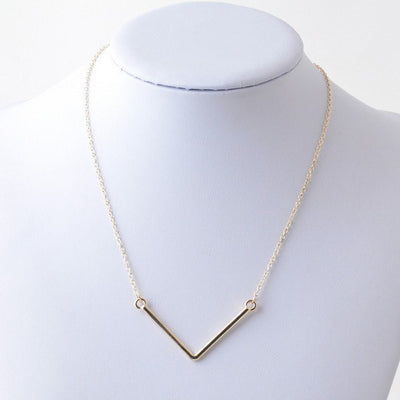 "Necklace,Jewelry - Christine ""Loyal"" V Bar Necklace"