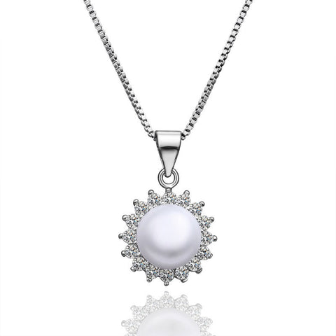 "Necklace,Jewelry - Flora ""Flower"" Pearl Pendant Necklace"