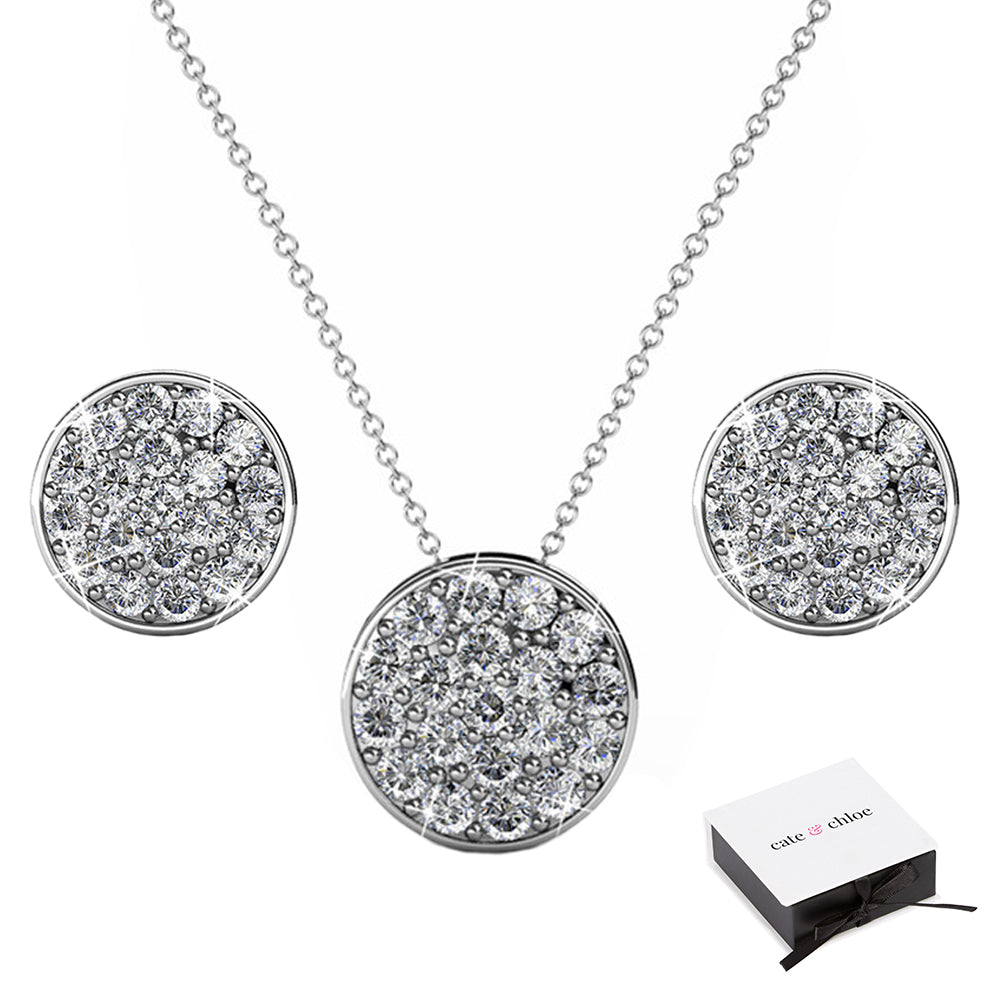 "4bb3b86e19be9 Nelly ""Valor"" 18k White Gold Swarovski Crystal Pave Stud Necklace and  Earrings Jewelry Set – Cate   Chloe"