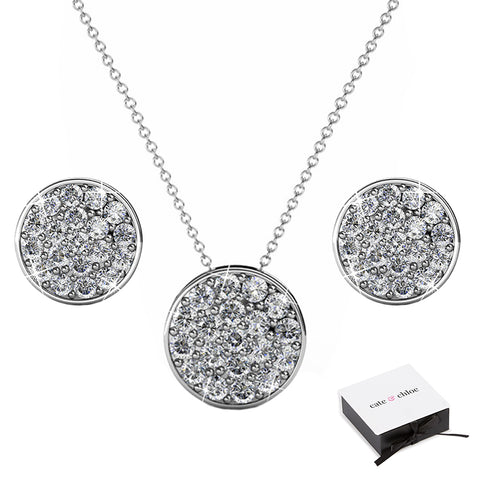 "Nelly ""Valor"" 18k White Gold Swarovski Crystal Pave Stud Necklace and Earrings Jewelry Set"
