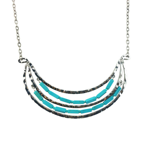 "Piper ""Charming"" Hammered Turquoise Necklace"