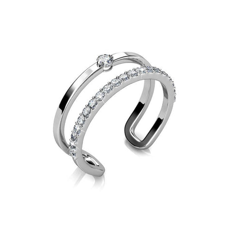 "Ring,Jewelry,Swarovski - Esme ""Esteemed"" 18k White Gold Plated Swarovski Flex Ring"