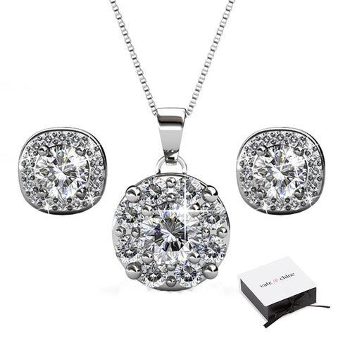 "Ruth ""Protector"" 18k White Gold Swarovski Earrings/Necklace Jewelry Set"