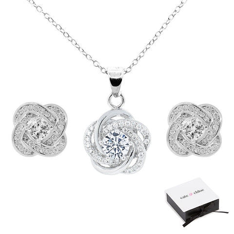 "Stella ""Cosmic"" 18k White Gold Plated Pendant Necklace/Earrings Jewelry Set"