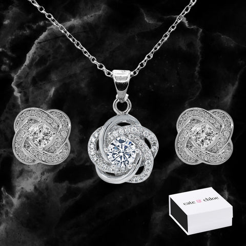 "Stella ""Cosmic"" 18k CZ Crystals White Gold Plated Pendant Necklace and Earrings Jewelry Set"