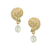 Susan Shaw Handcast 24Kt Gold Plated Shell and Genuine Freshwater Pearl Earrings