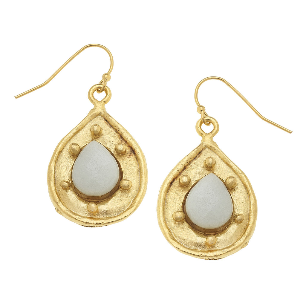 Susan Shaw Handcast Gold Teardrop with Genuine amazonite Stone Earrings