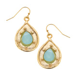 Susan Shaw Handcast Gold Teardrop with Genuine Aqua Quartz Earrings