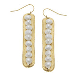Susan Shaw Genuine Freshwater Pearls on Handcast Gold Bar Earrings
