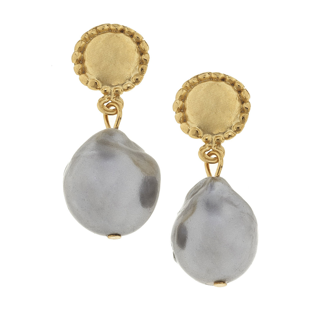 Susan Shaw Genuine Grey Freshwater Baroque Pearl Wire Earrings