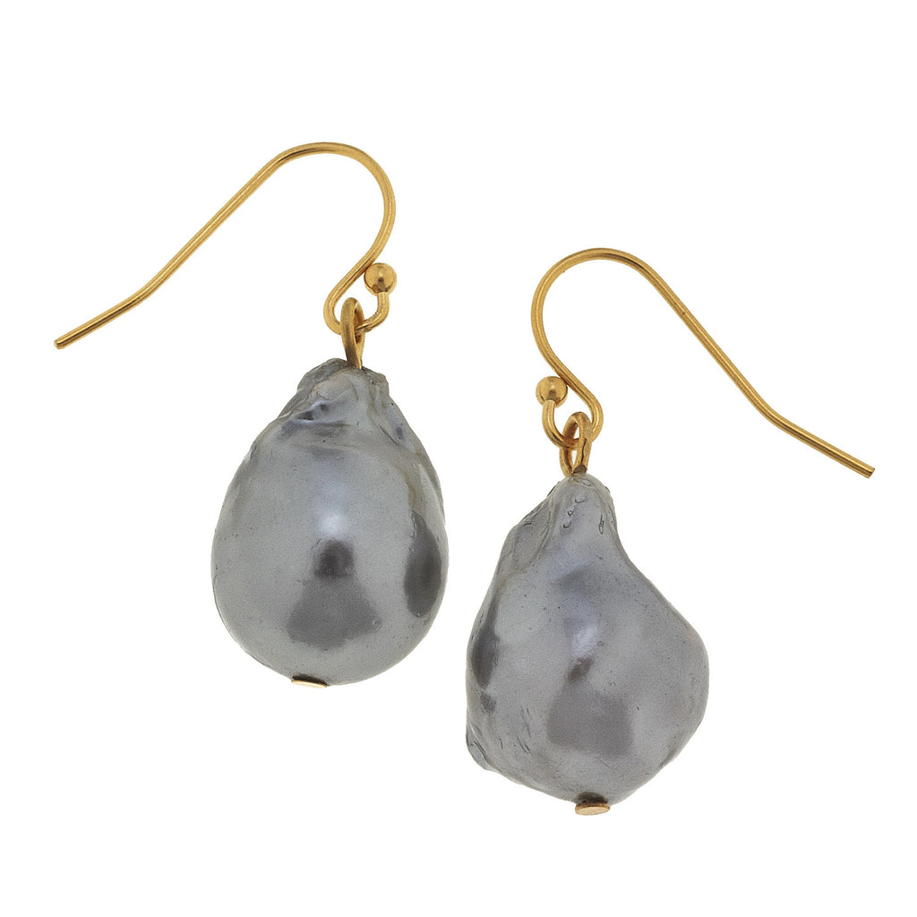 Susan Shaw Handcast Gold Cab & Genuine Grey Freshwater Baroque Pearl Earrings