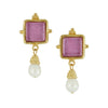 Susan Shaw Handast 24Kt Gold & Pink French Glass Earring with Genuine Freshwater Pearl Drop