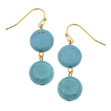Susan Shaw Genuine Turquoise w/Gold Earrings