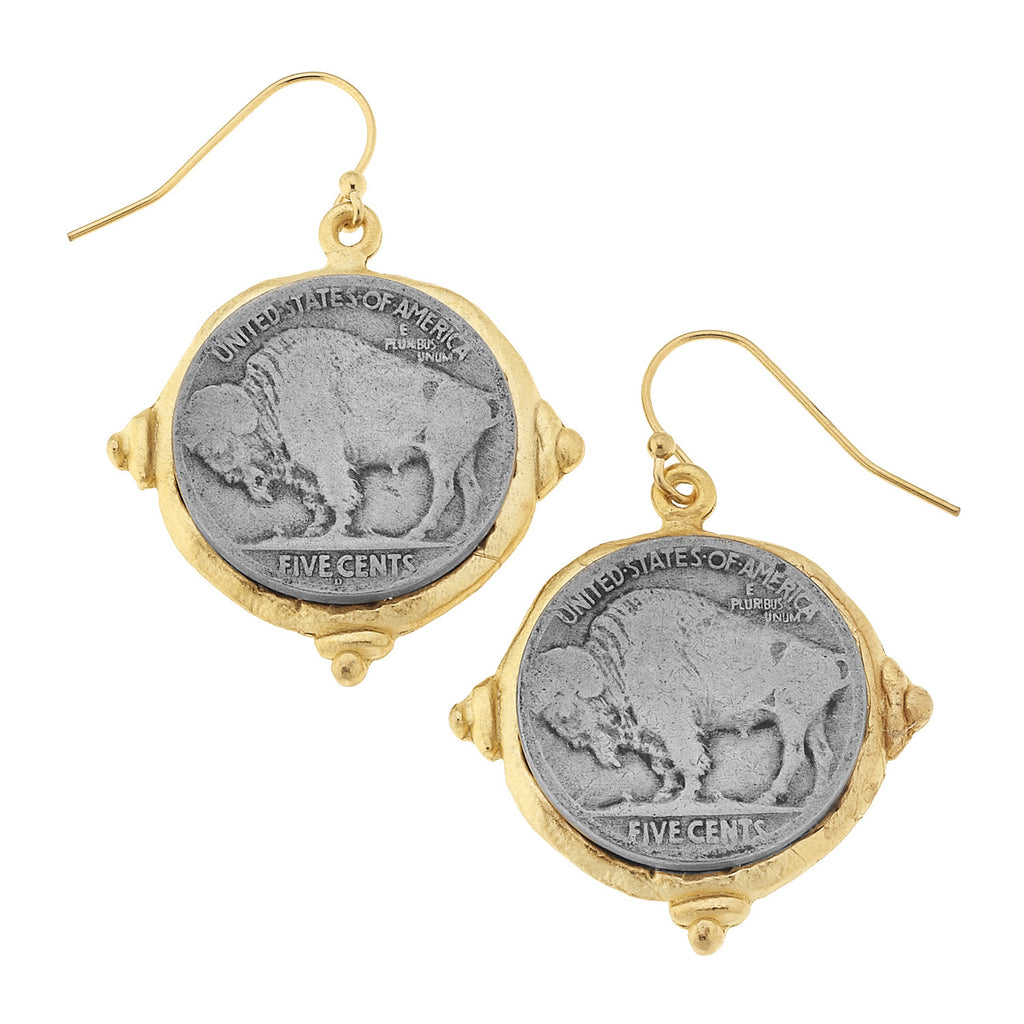 Susan Shaw Handcast Gold & Silver Vintage Buffalo Head Coin Earrings