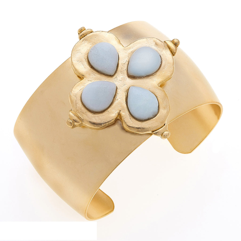 Susan Shaw Handcast Gold Clover with Genuine amazonite Stone Cuff Bracelet